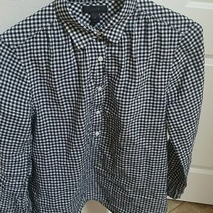 JCrew Black White Gingham Popover Blouse